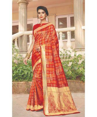 Red SIlk Checks Jacquard Work Traditional Saree