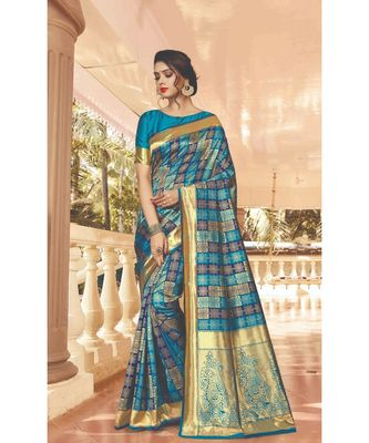 Sky Blue SIlk Checks Jacquard Work Traditional Saree