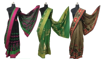 COMBO OF 3 EMBROIDERED ART SILK SAREE WITH BLOUSE