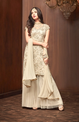 Off-white sequins net salwar