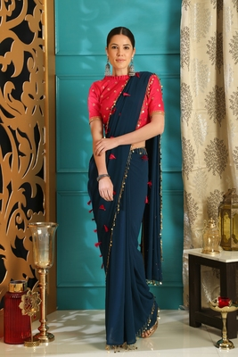 Dark navy blue hand woven georgette saree with blouse