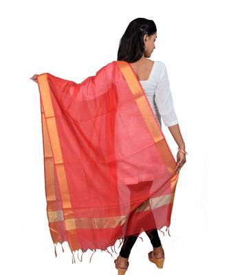 red  Cotton Chanderi Dupatta With Zari Border