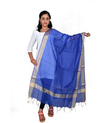 blue  Cotton Chanderi Dupatta With Zari Border