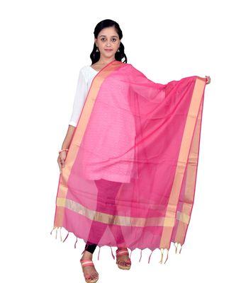 magenta  Cotton Chanderi Dupatta With Zari Border