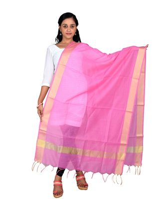 pink  Cotton Chanderi Dupatta With Zari Border