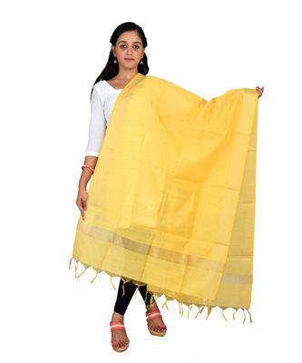 yellow  Cotton Chanderi Dupatta With Zari Border