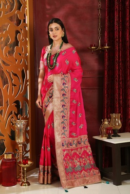 Magenta Embroidered Silk Saree With Blouse