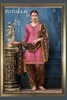 Pink embroidered satin salwar