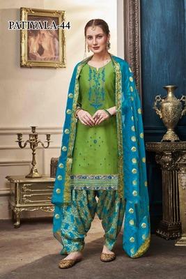 Green embroidered satin salwar