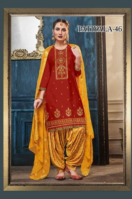 Orange embroidered satin salwar