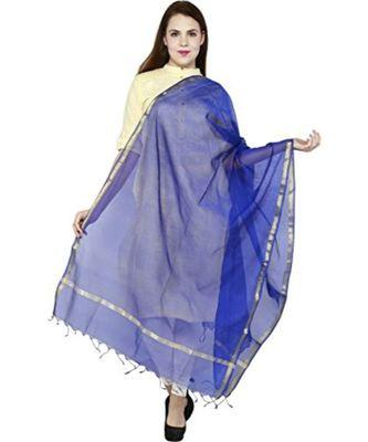 blue  Cotton Chandei Dupatta With Zari Border