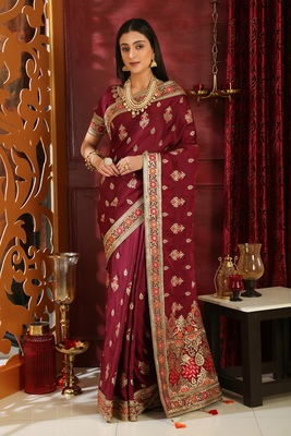 Wine embroidered silk saree with blouse