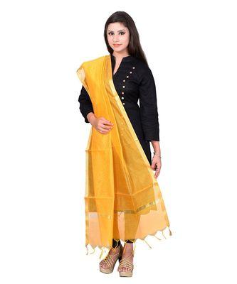 yellow   Cotton Chandei Dupatta With Zari Border