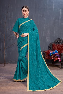 Turquoise embroidered silk cotton saree with blouse