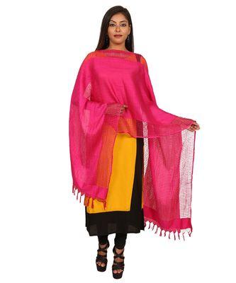 magenta  Self Designz Silk Dupatta