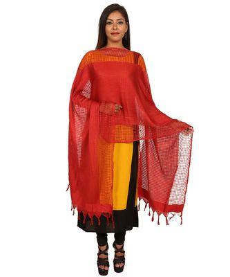 red  Self Designz Silk Dupatta