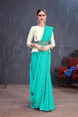 Sky blue plain silk cotton saree with blouse