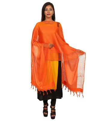 orange  Self Designz Silk Dupatta