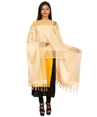 gold  Self Designz Silk Dupatta