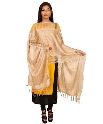 beige  Self Designz Silk Dupatta
