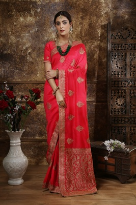 Dark pink embroidered silk saree with blouse