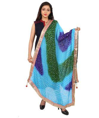 multicolor  Silk Bandhej Dupatta With Gotta Patti Border