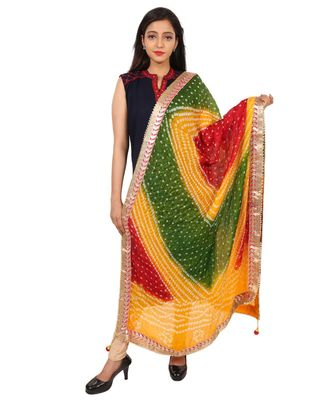 multicolor  Silk Bandhej Dupatta With Gotta Patti Border