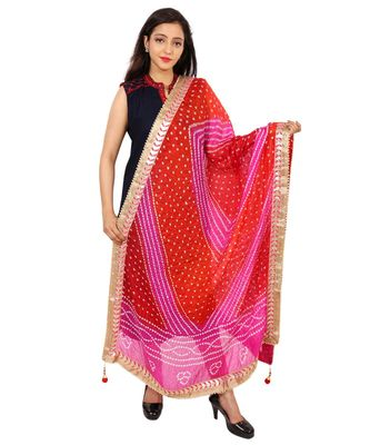 pink  Silk Bandhej Dupatta With Gotta Patti Border