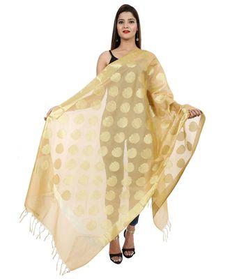 beige  Banarasi Silk Booti & Jaal Dupatta