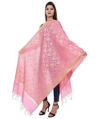 pink  Banarasi Silk Booti & Jaal Dupatta