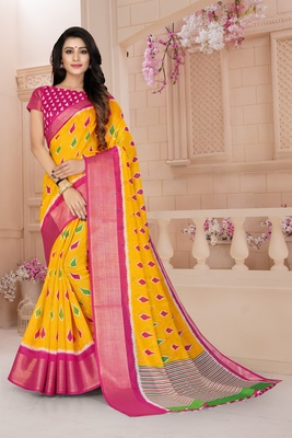 Yellow printed cotton poly saree with blouse