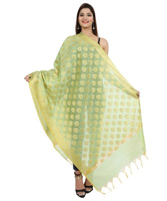 green  Banarasi Silk Booti & Jaal Dupatta