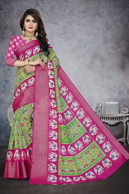 Light green printed cotton poly saree with blouse