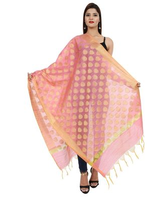peach  Banarasi Silk Booti & Jaal Dupatta