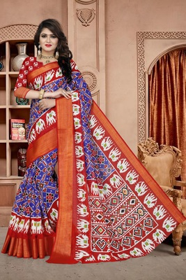 Royal blue printed cotton poly saree with blouse