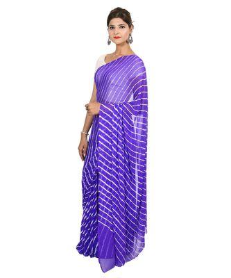 blue plain chiffon saree with blouse