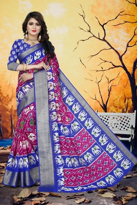 Light pink printed cotton poly saree with blouse