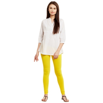 Yellow plain cotton leggings