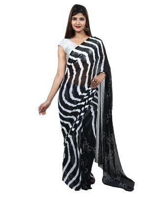 black plain chiffon saree with blouse