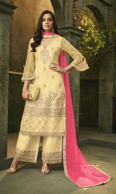 Yellow embroidered net salwar