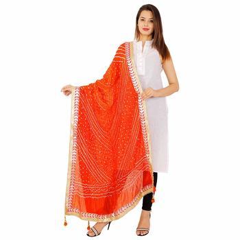 orange Silk Bandhej Dupatta