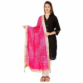 magenta Silk Bandhej Dupatta