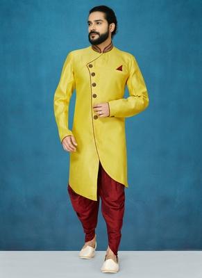 Yellow hand woven  silk indo-western-dresses