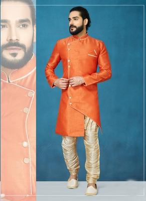 Orange plain  silk indo-western-dresses