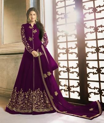 Purple embroidered georgette salwar