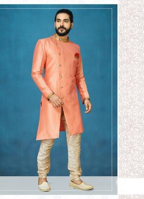 Orange hand woven  silk indo-western-dresses