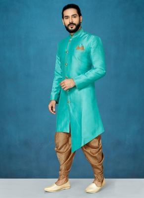 Green hand woven  silk indo-western-dresses