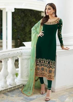 Green Faux Georgette Straight Salwar Kameez Semi Stitched