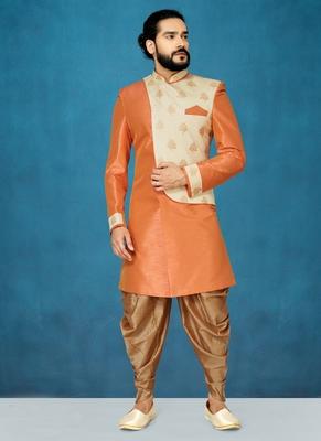 Orange hand woven  jaquard indo-western-dresses