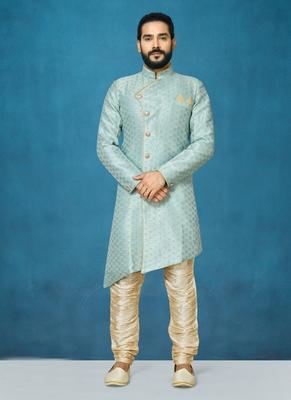 Grey hand woven  silk indo-western-dresses